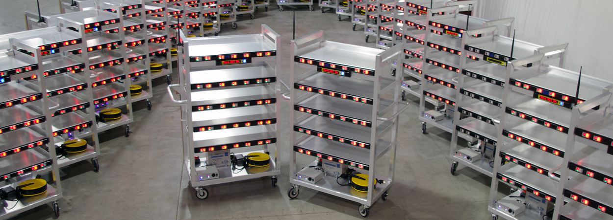 Fleet of multiple carts with powered light-directed picking lights
