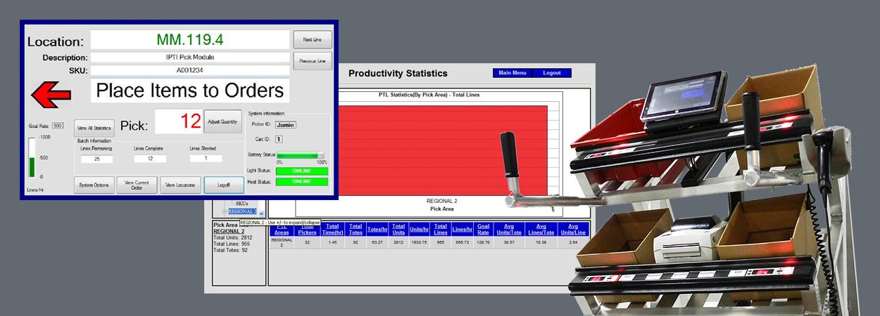 warehouse picking cart with software screenshots