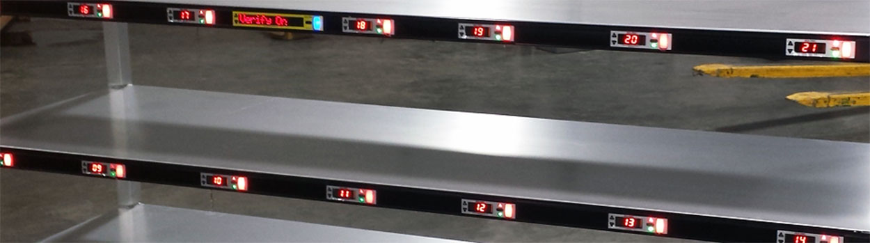 large cart shelves with lit pick-to-light modules and display