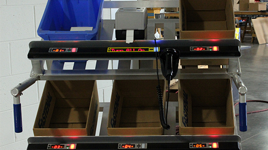 pick cart with lights and scanner